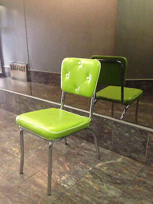 Mid-Century Retro Vtg 50s CHROME & Cushioned LEATHERETTE Chair Neon Lime Green