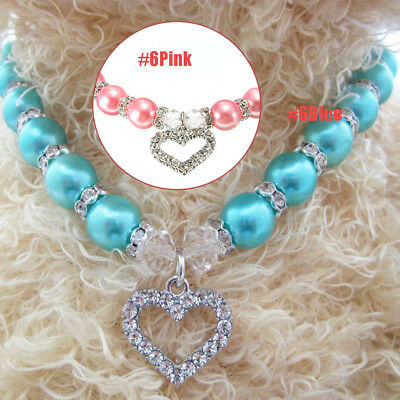 Puppy Necklace Dog Pendant Collar Cat Crystal Beads Jewelry Pet Pearl #6 Blue