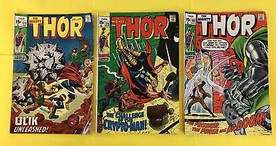 The Mighty Thor Comic #'s 173, 174, & 182 (1970)