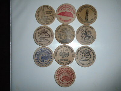 """Lot #1 containing 10 different 2"""" wooden dollars all in great condition"""