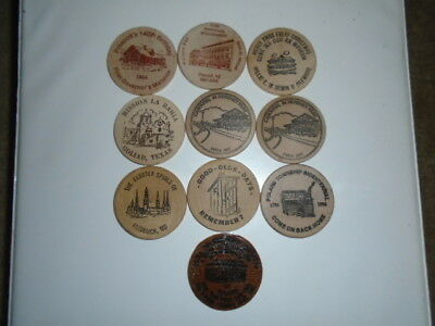 """Lot #3 containing 10 different 2"""" wooden dollars all in great condition"""