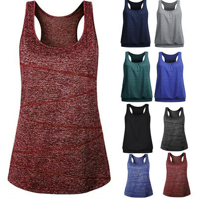 Womens Girls Sleeveless Round Neck Wrinkled Loose Fit Racerback Workout Tank Top