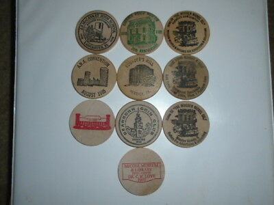 """Lot #4 containing 10 different 2"""" wooden dollars all in great condition"""