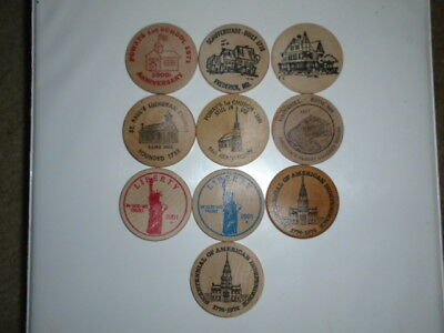 """Lot #6 containing 10 different 2"""" wooden dollars all in great condition"""