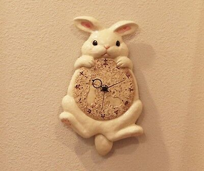 Rabbit Bunny porcelain wall pendulum tail clock SETO ware hand made in Japan New