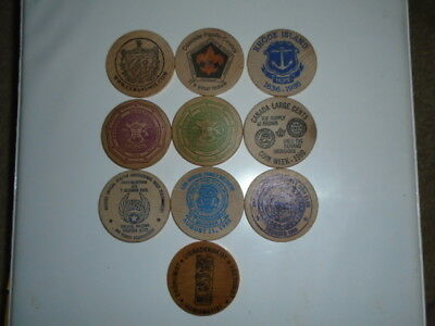 """Lot #9 containing 10 different 2"""" wooden dollars all in great condition"""