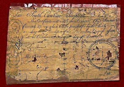 1775 South Carolina Colonial Large Size **SC-99 >10 Pounds (Backed) - RARE NOTE!