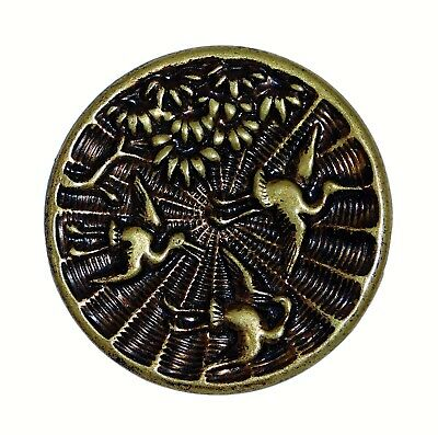 Antique LARGE Victorian Metal Picture Button Flying BIRDS Vintage