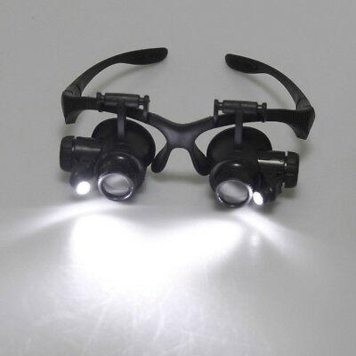 LED Light /8 Lens Magnifier Magnifying Eye Glass Loupe Jeweler Watch Repair