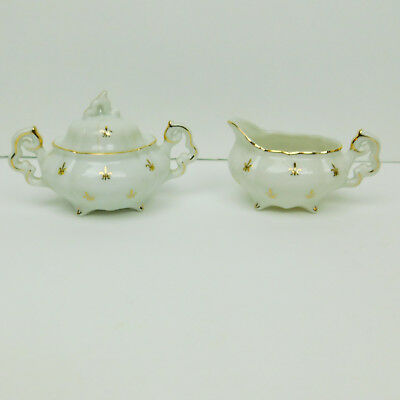 Lefton Mini Creamer & Sugar Bowl Set Fleur De Lis White Gold Scalloped Vintage