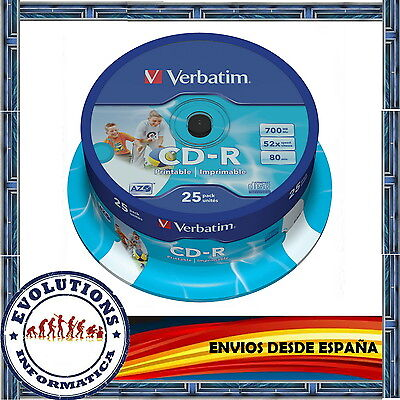 CD VERBATIM -R TARRINA 25 UNIDADES 700Mb 52X CDs ORIGINAL 10 50 100 200