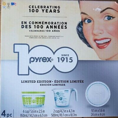 Pyrex 4 piece Limited Edition 100th Anniversary Set: Meas Cup,  Bowl Lid, Plate
