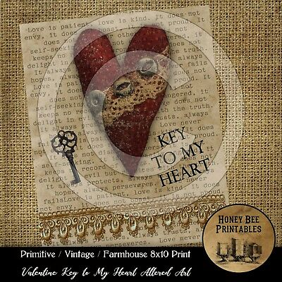 Prim Farmhouse Vintage PRINT 8x10 Valentine Love Altered Art Key to my Heart