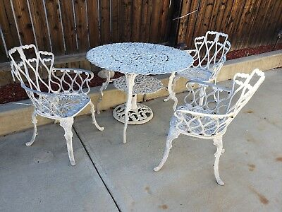 Vintage Outdoor Cast Aluminum Patio Furniture 4 Piece Dining Set 3 Chair 1 Table