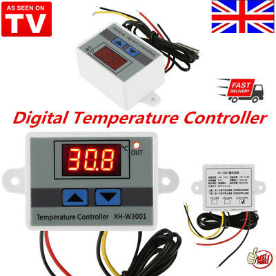 220V 10A Digital Temp Thermostat Temperature Controller Sensor Relay Switch UK Q