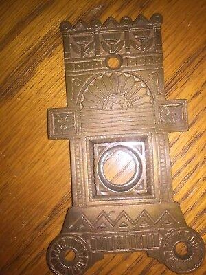 Antique Cast Bronze Victorian Triangular Door Knob Backplate - Escutcheon