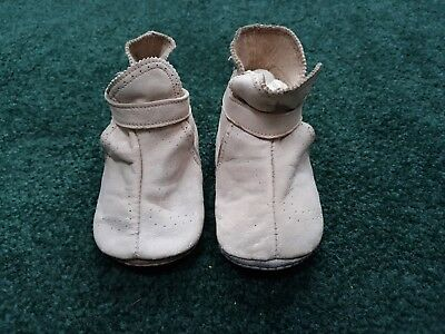 Vintage Antique Childrens Leather White Shoes