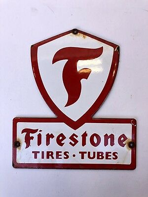 "Vintage FIRESTONE Tire Rack Original Porcelain Ad Sign 6 1/2"" X 7 1/2"""