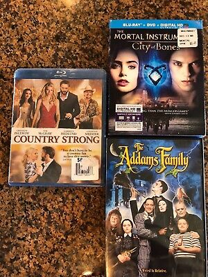 DVD Blu Ray Digital HD Mortal Instruments Bones COUNTRY STRONG Addams Family