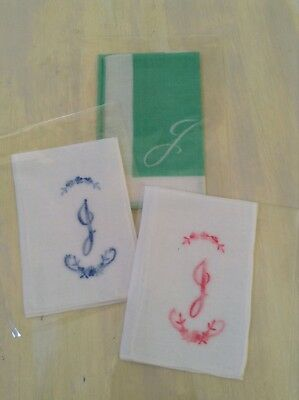 Vintage Ladies Handkerchiefs - Lot Of 3 Cotton Patterned Embroidered Letter 'j'.