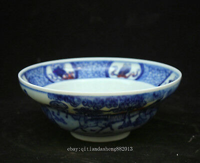 17cm China oid Antique Blue and white porcelain Handmade Animal Lion bowl QCNG