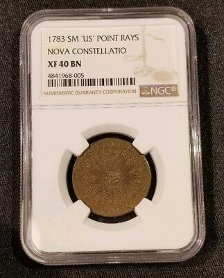"""1783 NOVA CONSTELLATIO COPPER - Small """"US"""" Pointed Ray's- NGC XF 40 BN"""