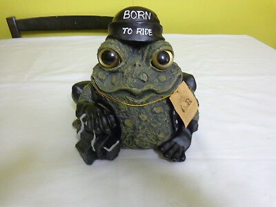 Toad Hollow Large Biker Frog Motorcycle Figurine Born To Ride 2008