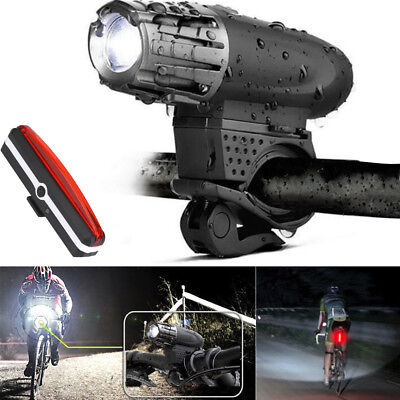 360° Rotation USB Rechargeable LED Bike Bicycle Headlight Front Light+Rear Lamp