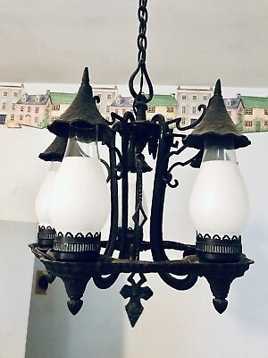 Antique Gothic Cast Iron Light Fixture 5 Arm Gothic Castle Design Estate Sale