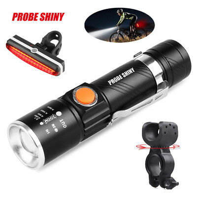 3000 LM Bike Bicycle USB Rechargeable LED Head Front Light+Rear Tail Lamp Set