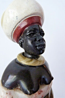 African Lady Wearing Turban - Bust Figurine Soapstone and Marble Layers