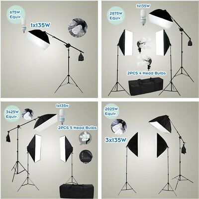 Studio Continuous Lighting Softbox Arm Boom Stand Kit Photography Video Soft Box