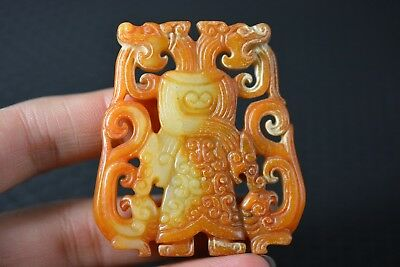 Chinese old Nephrite jade Double-sided carving dragon/Phoenix pendant  G19