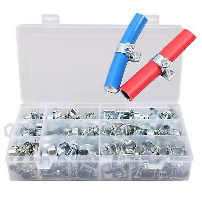 110pcs Mini Fuel Line Clip Hose Clamp Diesel Petrol Pipe Clamps Zinc Plated Box