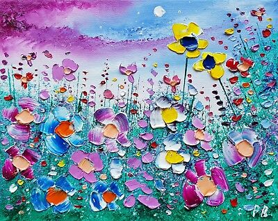 Stormy Meadow Flowers in Love, an original oil painting on canvas, by Phil Broad