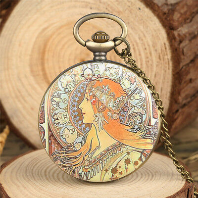 Antique Classic Ancient Women Lady Quartz Pocket Watch  Necklace Chain Gift