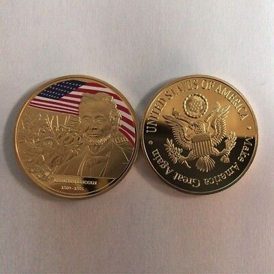 Abraham Lincoln Gold Plated Colored Collection Commemorative coin