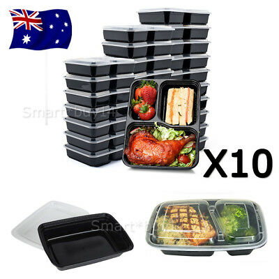 10X Take away Plastic Food Containers Meal Prep Microwavable Lunch Box Lids NEW