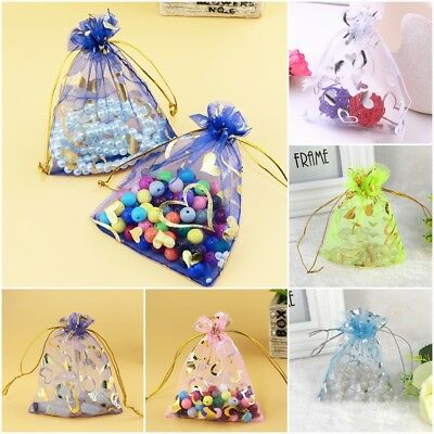 5/25/50pcs Luxury Organza Wedding Favour Gift Candy Bags Jewelry Pouch 5 Colours