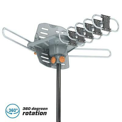 1080P HDTV 150Miles Outdoor Amplified TV Antenna Rotate Remote 360°UHF VHF Gray