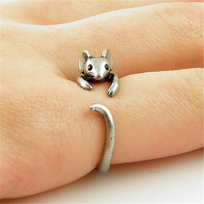 Boho Chic Vintage Adjustable Animal Mouse Knuckle Rings Men Wedding Jewelry Gift