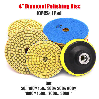 "10x 4"" 100mm Disc Grinder Diamond Polishing Pads Kit For Granite Concrete Marble"