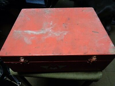 vintage wooden box with m painted on it. antique