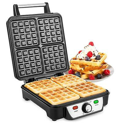Large Quad Belgian Waffle Maker Machine | 1100W Electric Iron Non Stick Plates