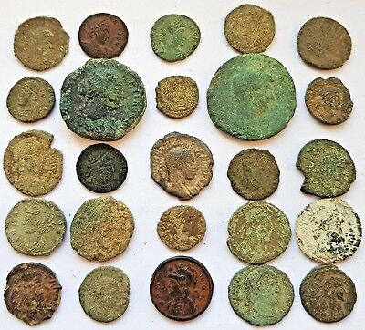 25 Unresearched Roman Coins, for cleaning and attribution. Includes 1 Silver.
