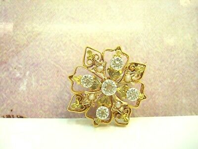 Broche Ancienne Or Jaune 18 Carats 750/000 Perles & Roses Diamant 4.70 G R76944