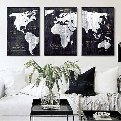 3 Piece Canvas Prints Set - Map of the World Black and White Art - Unframed