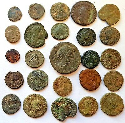 25 Unresearched Roman Coins, for cleaning and attribution. Includes 2 Silvers.