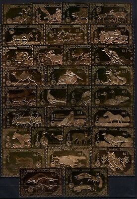 A102308/ Mongolia – Wildlife – 1980 Private Mint Mh Golden Set Complete