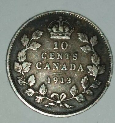 Canada 1913 Silver 10 Cents King George V Rare